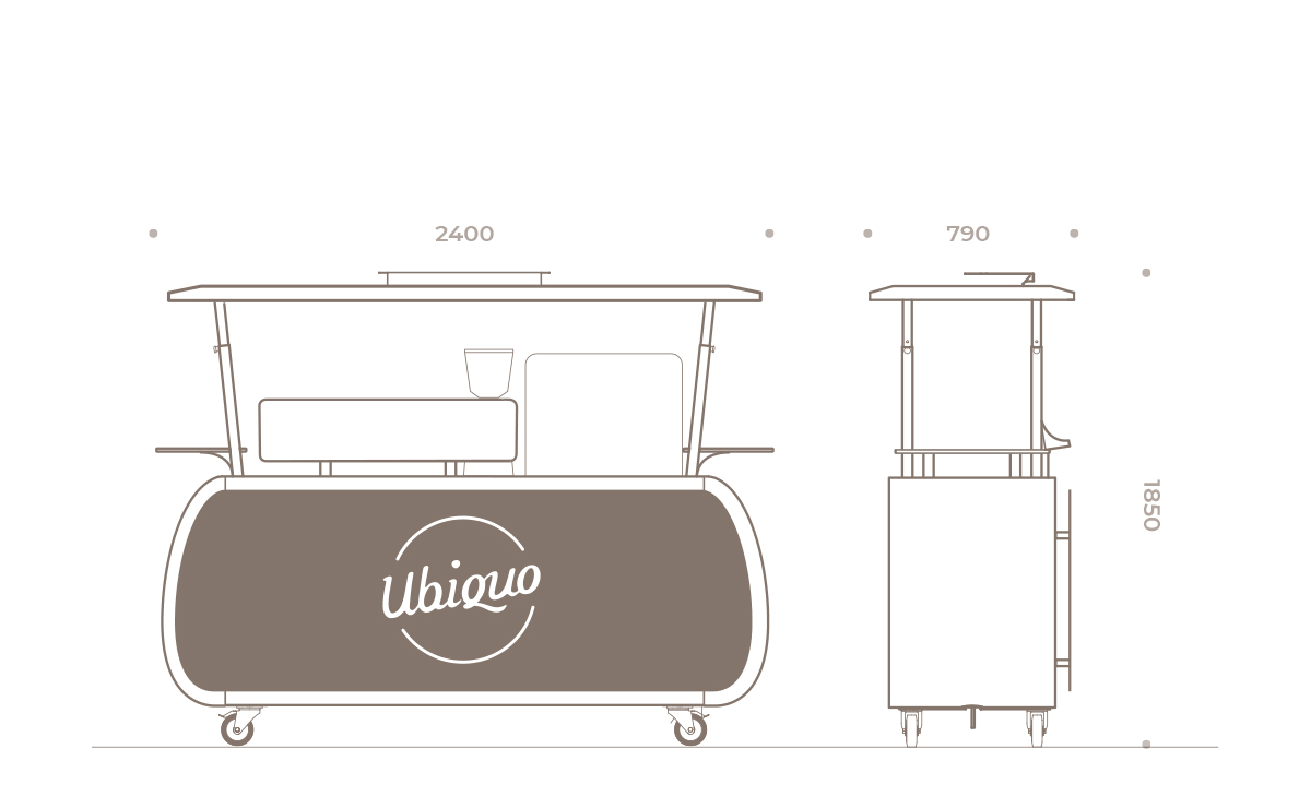 Ubiquo-Italian Coffee Cart on wheels_technical drawing_closed