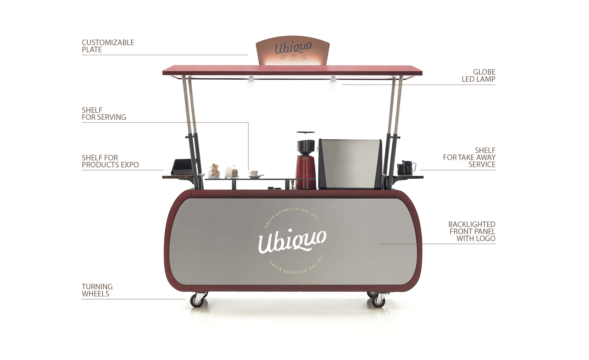Ubiquo-Italian Coffee Cart on wheels_front view